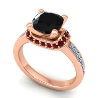Halo Cushion Aksika Black Onyx Ring with Garnet and Swiss Blue Topaz in 14K Rose Gold