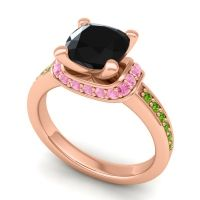 Halo Cushion Aksika Black Onyx Ring with Pink Tourmaline and Peridot in 14K Rose Gold