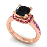 Halo Cushion Aksika Black Onyx Ring with Ruby and Amethyst in 18K Rose Gold