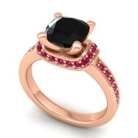 Halo Cushion Aksika Black Onyx Ring with Ruby in 14K Rose Gold