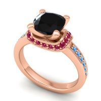 Halo Cushion Aksika Black Onyx Ring with Ruby and Swiss Blue Topaz in 18K Rose Gold
