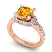 Halo Cushion Aksika Citrine Ring with Aquamarine in 18K Rose Gold