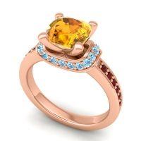 Halo Cushion Aksika Citrine Ring with Aquamarine and Garnet in 14K Rose Gold