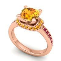 Halo Cushion Aksika Citrine Ring with Ruby in 18K Rose Gold