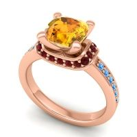 Halo Cushion Aksika Citrine Ring with Garnet and Swiss Blue Topaz in 14K Rose Gold