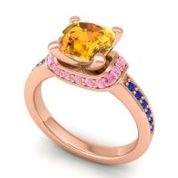 Halo Cushion Aksika Citrine Ring with Pink Tourmaline and Blue Sapphire in 14K Rose Gold