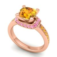 Halo Cushion Aksika Citrine Ring with Pink Tourmaline in 14K Rose Gold