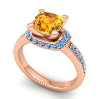 Halo Cushion Aksika Citrine Ring with Swiss Blue Topaz in 18K Rose Gold
