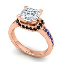 Halo Cushion Aksika Diamond Ring with Black Onyx and Blue Sapphire in 14K Rose Gold