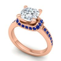 Halo Cushion Aksika Diamond Ring with Blue Sapphire in 14K Rose Gold