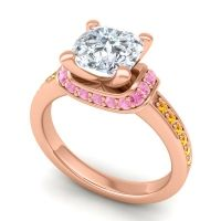 Halo Cushion Aksika Diamond Ring with Pink Tourmaline and Citrine in 18K Rose Gold