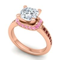 Halo Cushion Aksika Diamond Ring with Pink Tourmaline and Garnet in 14K Rose Gold