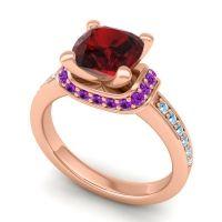 Halo Cushion Aksika Garnet Ring with Amethyst and Aquamarine in 18K Rose Gold