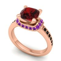 Halo Cushion Aksika Garnet Ring with Amethyst and Black Onyx in 14K Rose Gold