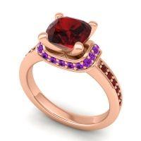 Halo Cushion Aksika Garnet Ring with Amethyst in 18K Rose Gold
