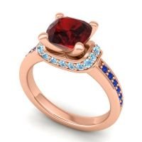 Halo Cushion Aksika Garnet Ring with Aquamarine and Blue Sapphire in 14K Rose Gold