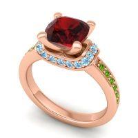 Halo Cushion Aksika Garnet Ring with Aquamarine and Peridot in 18K Rose Gold