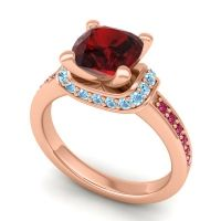 Halo Cushion Aksika Garnet Ring with Aquamarine and Ruby in 14K Rose Gold