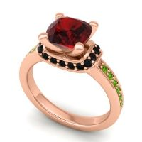 Halo Cushion Aksika Garnet Ring with Black Onyx and Peridot in 18K Rose Gold