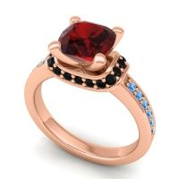 Halo Cushion Aksika Garnet Ring with Black Onyx and Swiss Blue Topaz in 18K Rose Gold