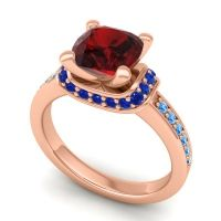 Halo Cushion Aksika Garnet Ring with Blue Sapphire and Swiss Blue Topaz in 18K Rose Gold