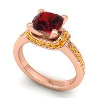 Halo Cushion Aksika Garnet Ring with Citrine in 14K Rose Gold