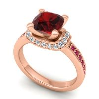 Halo Cushion Aksika Garnet Ring with Diamond and Ruby in 18K Rose Gold