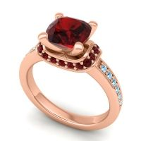 Halo Cushion Aksika Garnet Ring with Aquamarine in 14K Rose Gold