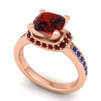 Halo Cushion Aksika Garnet Ring with Blue Sapphire in 18K Rose Gold