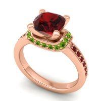 Halo Cushion Aksika Garnet Ring with Peridot in 18K Rose Gold