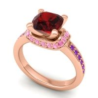 Halo Cushion Aksika Garnet Ring with Pink Tourmaline and Amethyst in 14K Rose Gold