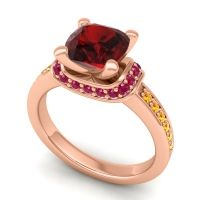 Halo Cushion Aksika Garnet Ring with Ruby and Citrine in 14K Rose Gold