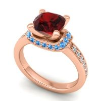 Halo Cushion Aksika Garnet Ring with Swiss Blue Topaz and Diamond in 18K Rose Gold