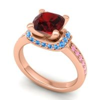 Halo Cushion Aksika Garnet Ring with Swiss Blue Topaz and Pink Tourmaline in 18K Rose Gold
