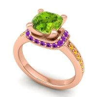 Halo Cushion Aksika Peridot Ring with Amethyst and Citrine in 18K Rose Gold