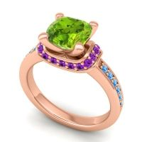 Halo Cushion Aksika Peridot Ring with Amethyst and Swiss Blue Topaz in 18K Rose Gold