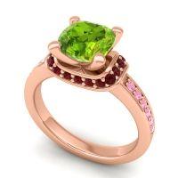 Halo Cushion Aksika Peridot Ring with Garnet and Pink Tourmaline in 18K Rose Gold
