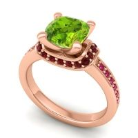Halo Cushion Aksika Peridot Ring with Garnet and Ruby in 18K Rose Gold