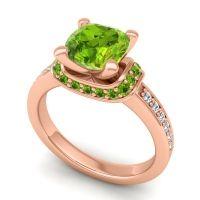 Halo Cushion Aksika Peridot Ring with Diamond in 18K Rose Gold