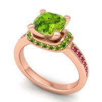 Halo Cushion Aksika Peridot Ring with Ruby in 14K Rose Gold