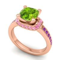 Halo Cushion Aksika Peridot Ring with Pink Tourmaline and Amethyst in 18K Rose Gold