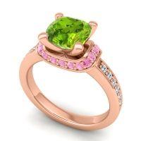 Halo Cushion Aksika Peridot Ring with Pink Tourmaline and Diamond in 14K Rose Gold