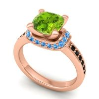 Halo Cushion Aksika Peridot Ring with Swiss Blue Topaz and Black Onyx in 18K Rose Gold