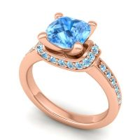 Halo Cushion Aksika Swiss Blue Topaz Ring with Aquamarine in 18K Rose Gold