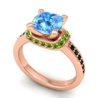 Halo Cushion Aksika Swiss Blue Topaz Ring with Peridot and Black Onyx in 18K Rose Gold