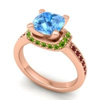 Halo Cushion Aksika Swiss Blue Topaz Ring with Peridot and Garnet in 14K Rose Gold