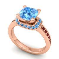 Halo Cushion Aksika Swiss Blue Topaz Ring with Garnet in 18K Rose Gold