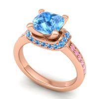 Halo Cushion Aksika Swiss Blue Topaz Ring with Pink Tourmaline in 18K Rose Gold