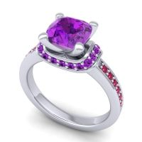 Halo Cushion Aksika Amethyst Ring with Ruby in Platinum