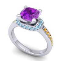 Halo Cushion Aksika Amethyst Ring with Aquamarine and Citrine in 18k White Gold
